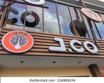 Nusa Dua Square, Bali - December 18, 2018: J.CO coffee and donuts sign and logo on the facade