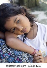 NUSA PENIDA, INDONESIA, APRIL 15.2017,Baby girl, Nusa Penida, indonesia, April 15. 2017, , Nusa Penida, Indonesia
