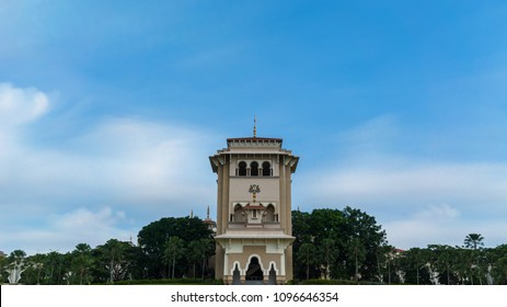 Nusajaya, Johor-April 19, 2018: Landscape of Sultan Ismail Building or Bangunan Sultan Ismail in malay which used for meeting places for the Johor State Legislative Assembly.