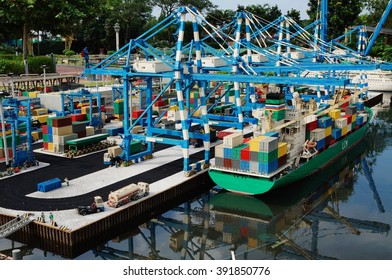 NUSAJAYA, MALAYSIA -15 MAR 2016- The Malaysian container Port of Tanjung Pelepas, center of international trade, represented in Lego bricks at Legoland. Lego is the largest toy company in the world.