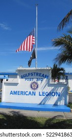 n-us-fl  Hallandale Beach - 2010:  American Legion Flag at Half-staff