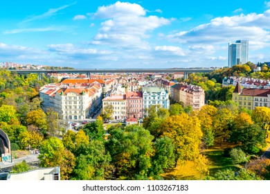 The Nusle Distric cityscape as seen from Vysehrad ramparts