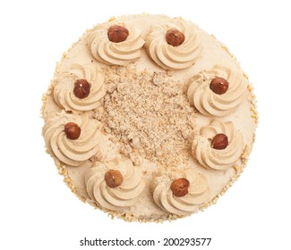 Nut cake from above on white background