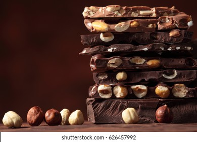 Nut chocolate bar pieces  tower