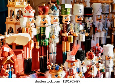 Nutcrackers at Christmas Market, Alexanderplatz in Winter Berlin, Germany. Advent Fair Decoration and Stalls with Crafts Items on the Bazaar.