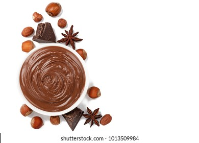 Nutella, chocolate cream.On white.