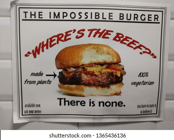 Nutley,NJ / USA - February 24 2019: Sign for the Impossible Burger at a restaurant. Distributed by Impossible Foods. Burger King now has veggie burger as does other fast food chains like White Castle.
