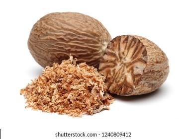 Nutmeg and nutmeg granules isolated on white background
