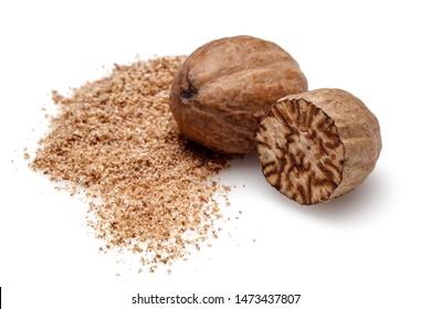 Nutmeg and ground nutmeg isolated on white background