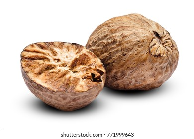 nutmeg isolated on white background. Clipping path