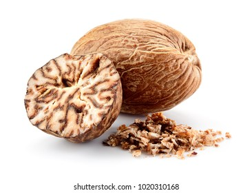 Nutmeg isolated. Whole nut and nutmeg powder isolated on white background.