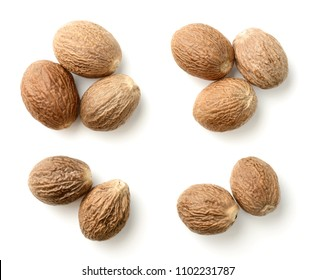 nutmeg spice isolated on the white background