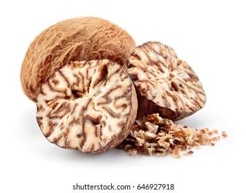 Nutmeg. Whole nut, half and powder isolated on white background.
