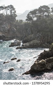 The nutrient-rich waters of the Pacific Ocean washes against the beautiful, rocky California coastline just south of Monterey Bay. This area is known for its spectacular natural scenery.