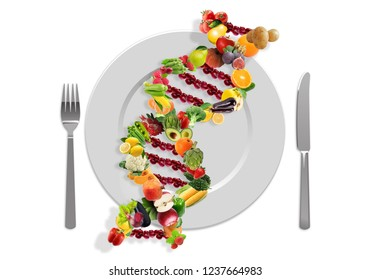 Nutrigenetics concept DNA strand made with healthy fresh vegetables and fruits in a plate