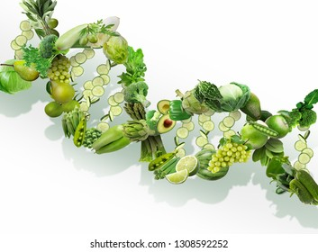 Nutrigenetics concept DNA strand made with healthy fresh green vegetables and fruits