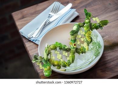 Nutrigenetics food concept DNA strand vegetables for health