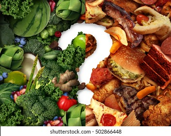 Nutrition confusion idea and diet decision concept and food choices dilemma between healthy fruit and vegetables or greasy cholesterol rich fast food as a question mark trying to decide what to eat.