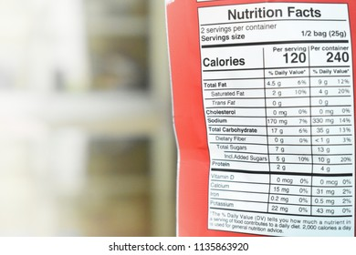 Nutrition Facts behind a brand of Thailand product package with copy space.July 17,2018 : Chiang Mai, Thailand.
