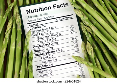 Nutrition facts of raw asparagus with asparagus background