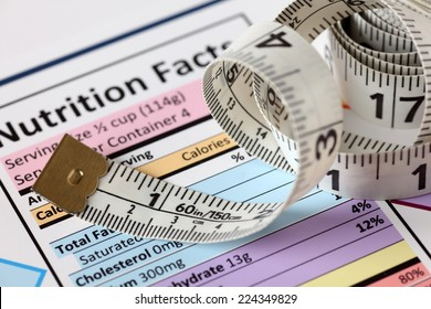 Nutrition facts with tape measure. Close-up.