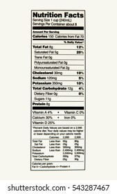 Nutrition Facts of whole milk.
