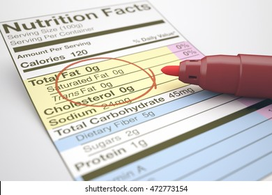 Nutrition facts with zero values of fat, marked with a red pen.