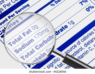 Nutrition information being studied under a magnifying glass