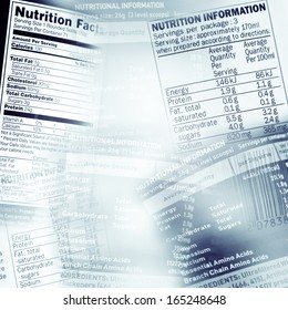 Nutrition information facts on assorted food labels