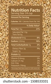 The nutrition label of healthy sunflower seeds on a bunch of the seeds