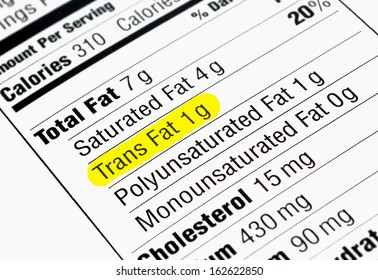 Nutrition label highlighting the unhealthy trans fats
