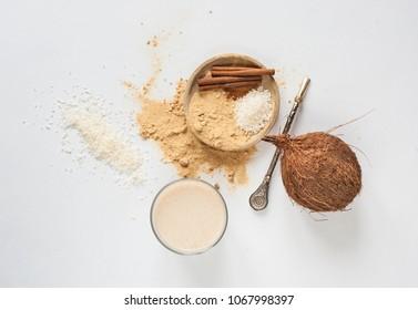Nutrition. Maca powder. Minimalism concept
