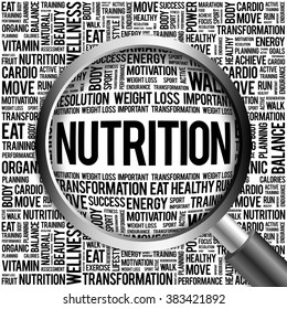 Nutrition word cloud with magnifying glass, health concept