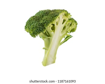 Nutritious broccoli with green leaves isolated on white background. Fresh vegetables