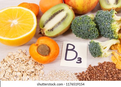 Nutritious ingredients and products containing vitamin B3 and other natural minerals, concept of healthy lifestyle and nutrition