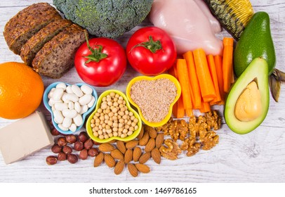 Nutritious products containing vitamin B3 (PP, niacin) and other natural minerals, concept of healthy nutrition.