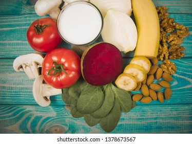 Nutritious products containing vitamin B7 (biotin) and dietary fiber, natural sources of minerals, healthy nutrition concept.