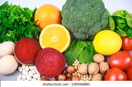 Nutritious products containing vitamin B9 (acidum folicum) and dietary fiber, natural sources of minerals, healthy nutrition concept.