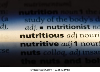 nutritious word in a dictionary. nutritious concept.