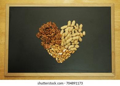 Nuts Allergy with Blackboard background, Nuts are one of the most common food allergy in baby and toddle. Allergic in Nuts protein, Peanut protein.