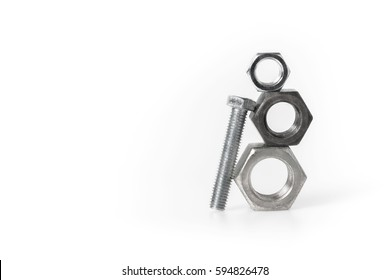 Nuts and  bolt on white background, One size does Not fit all concept, put the right man to the right job concept