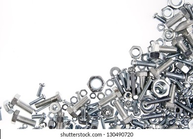 Nuts and bolts closeup on plain background