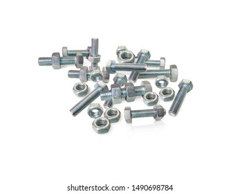 Nuts and bolts closeup on white background.Bolted screw closeup on white background.The screw, nut and bolts on white background