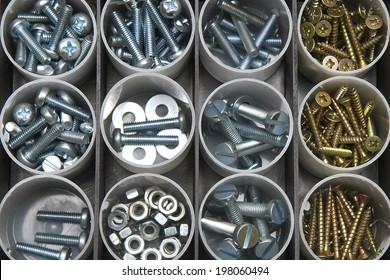 Nuts, bolts and screws in box