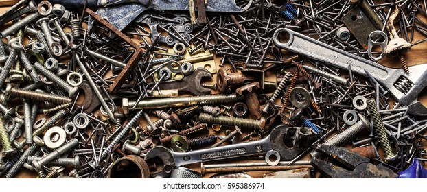 Nuts, bolts, tools, DIY, metal steampunk panorama.