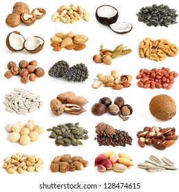 Nuts collection on a white background