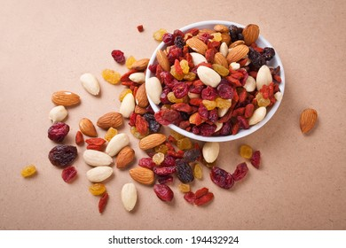 nuts and dried fruit in a bowl