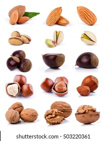 Nuts isolated on white background for packaging
