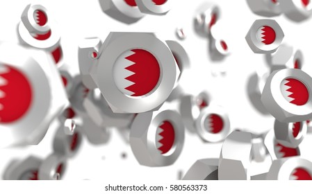 Nuts levitation group with flag of the Bahrain. Shallow depth of focus. 3D rendering