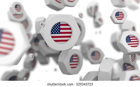 Nuts levitation group with flag of the USA. Shallow depth of focus. 3D rendering